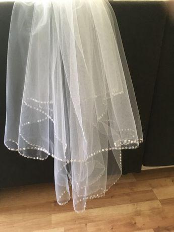 Welon ślubny biały z perełkami svarowski kryształki