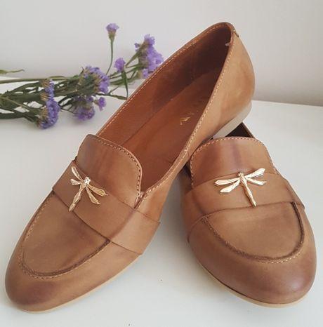 buty brązowe ze skóry damskie baleriny wygodne_rozmiar 38