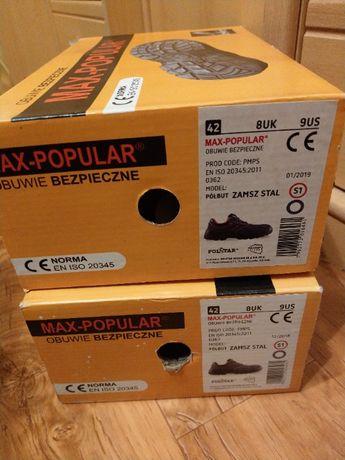 Buty robocze r.42 Max-Popular Półbut Zamsz Stal S1
