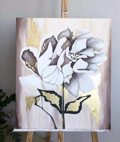 Картина, интерьерная картина, картина цветы , золотая поталь