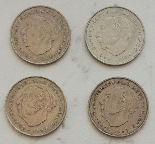 2 Deutsche Mark Theodor Heuss 20 lat RFN 1970 J / 1971 J F / 1972 F