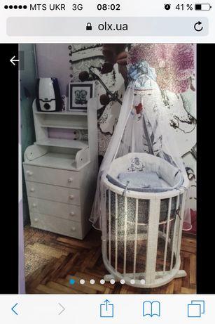 Кроватка Ovalbed и комод-пеленатор, матрас 2 в 1, балдахин, бортики