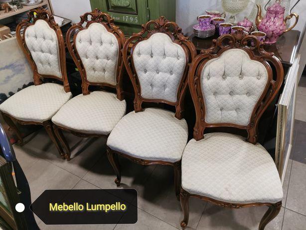 Komplet 4 szt krzesło krzesła zdobne rzeźbione drewniane do salonu