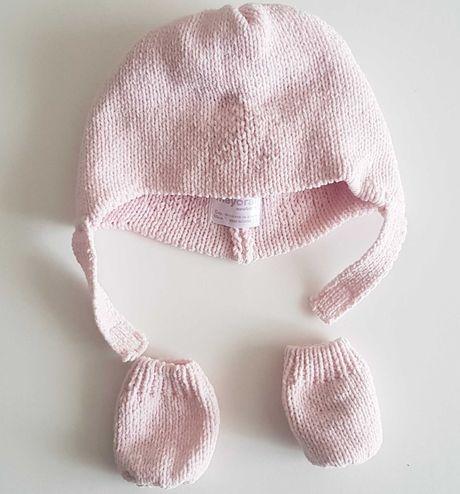 Czapeczka i rękawiczki  dla dziewczynki mayoral newborn r. 56 chrzest