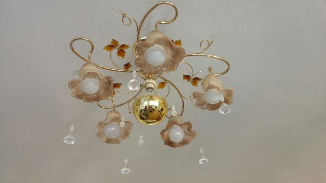Żyradol złoty krysztalki lampa wisząca