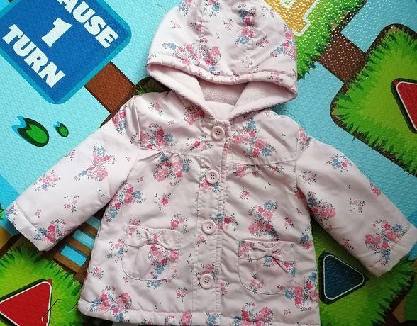 Куртка для дівчинки на 6-9 місяців, утеплена флісом