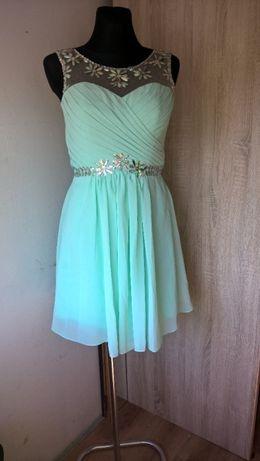 Miętowa sukienka tiul S