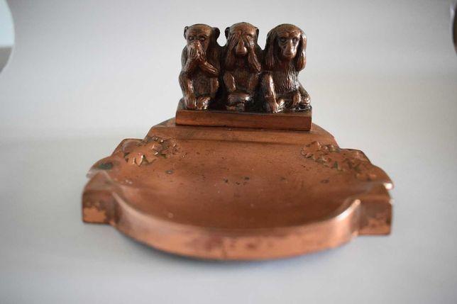 Trzy Małpy ozdoba na biurko ,brąz ,miedź .
