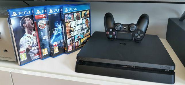 PlayStation 4 slim 500Gb + pad Dualshock, 4 gry na cd. Cały zestaw.