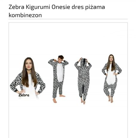 Piżama Kigurumi Zebra