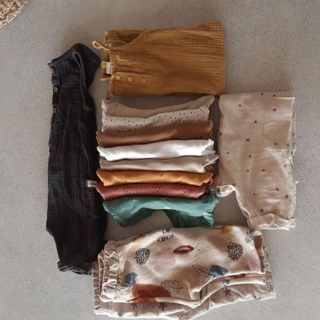 Paka 13 ubrań rozmiar 68 zara  h&m muślin organiczna bawełna