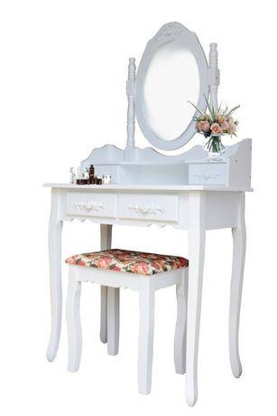 RDT77W Kosmetyczna toaletka z lustrem i taboretem zdobione szufladki