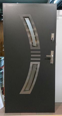 WYPRZEDAŻ!! drzwi zewnętrzne stalowe antracyt CIEPŁE 67mm PIANA NOWE