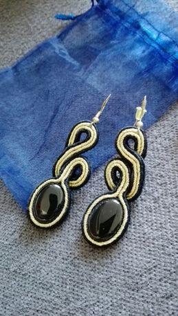 Kolczyki soutache handmade recznie robione czarno zlote