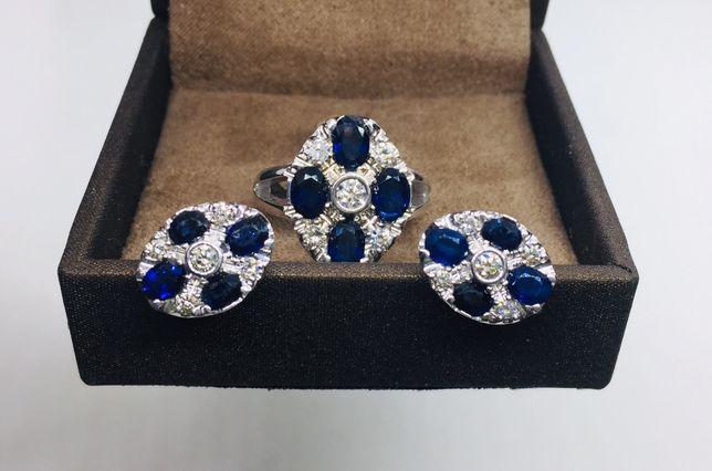 Золотое кольцо и серьги, набор. Сапфиры, бриллианты. Boucheron