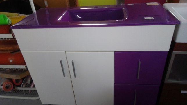 Lavatorio e movel de casa de banho NOVO lilás e branco