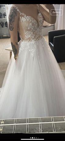 Suknia ślubna sposa model 2066 38/40 tiul koło koronka ramiączka
