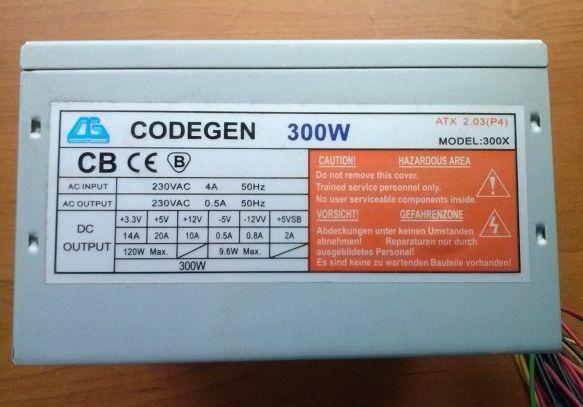Блок питания 300W CODEGEN 300X, 1х80мм