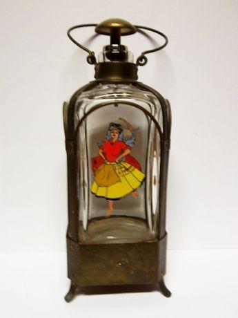 antiga licoreira-garrafa esmaltada á mão-folclore+caixa de música