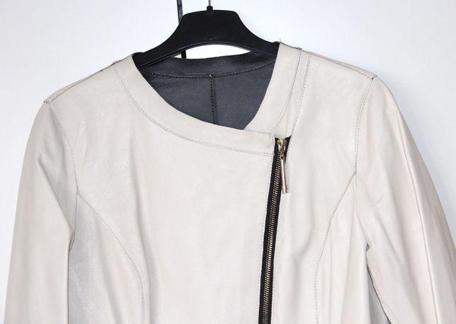 OCHNIK biała skóra ramoneska kurtka chanelka 36 s liu jo la mania bizu