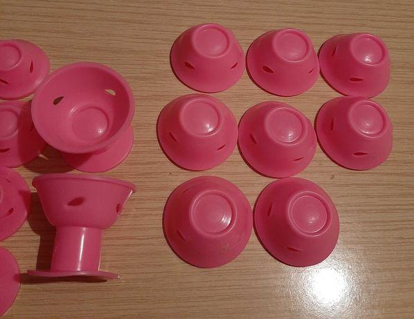 20 sztuk różowych silikonowych wałków do włosów