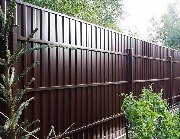 Профнастил заборный, профлист, металлический забор, заборы под ключ