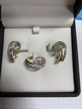 Набор серьги с кольцом и бриллиантами