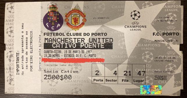 Bilhete jogo Champions League FC Porto x Manchester United 1997