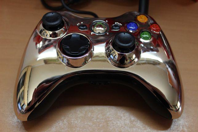 Xbox 360 проводной геймпад, USB джойстик для ПК серебристый хром