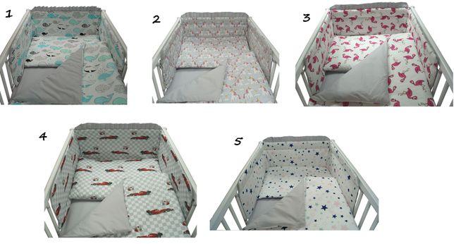 POŚCIEL 8-ELEMENTÓW do łóżeczka bawełniana 100%