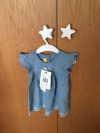 Vestido Chicco com bordado ingles  - 12 meses - novo com etiqueta