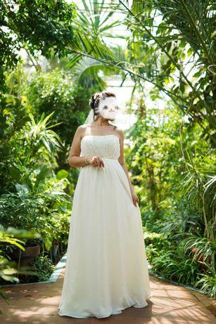 Свадебное платье, фата, бижутерия 46-50 айвори/Шампань/слоновая кость