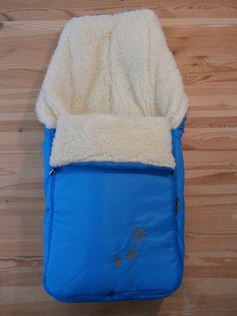 Конверт, мішок хутро, овчина в коляску, сани - мал: блакитний