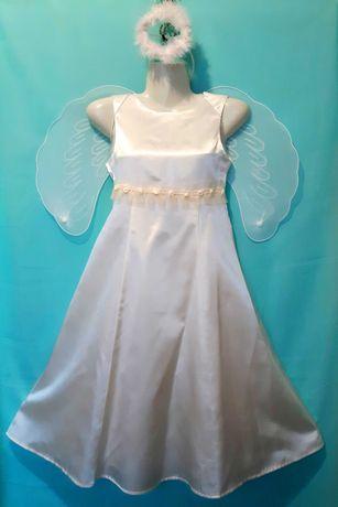 Атласное белое платье Eisend Kids, на 7-8 лет
