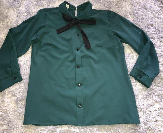 Zieleń butelkowa elegancka koszula r.S