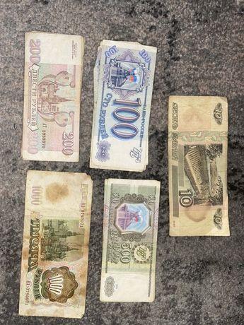 Купюры Россия 10 100 200 рублей 500 1000 1993г 1997г Банкноты