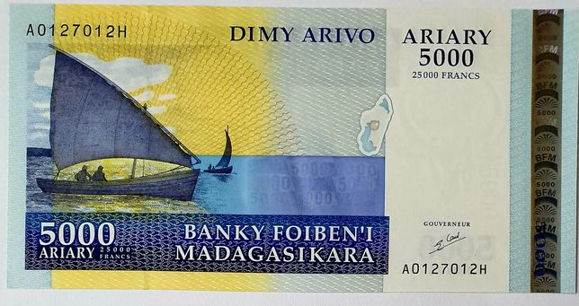 Madagaskar 5000 banknt UNC super