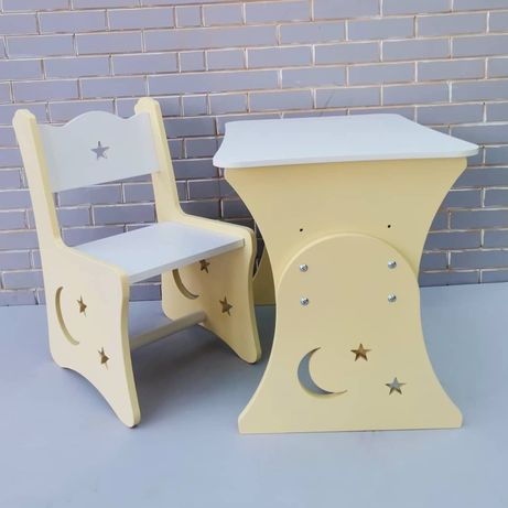 Дитячий столик і стільчик жовтий, дитячі меблі дропшипінг