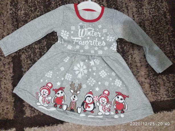 Детское зимнее платье новогоднее Снежинка с начесом