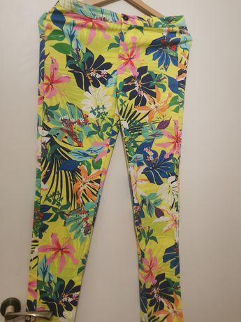 Kolorowe spodnie rurki Zara S 36
