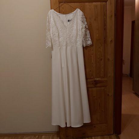 Suknia sukienka ślubna rozmiar 42 44 ecru prosta