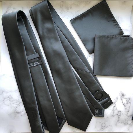 2 шт набор галстук атласный ручной работы нагрудный платок серый
