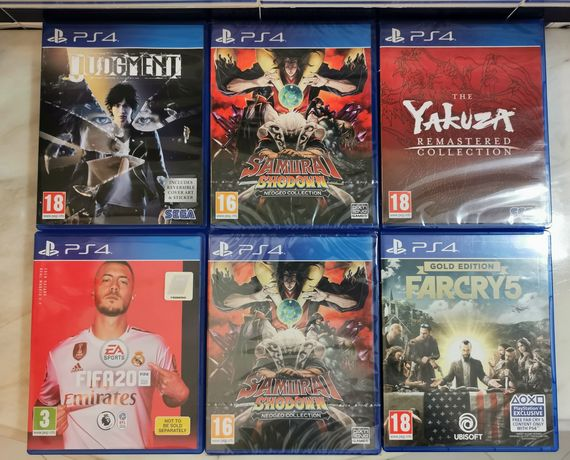 6 Jogos PS4 Samurai Shodown Collection Yakuza Judgment FIFA 20 FarCry