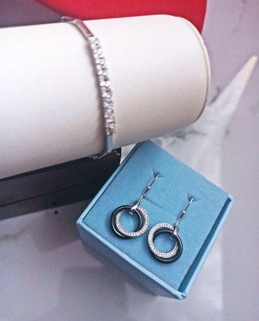 Komplet biżuteria srebrna: bransoletka, kolczyki PREZENT Dzień Kobiet