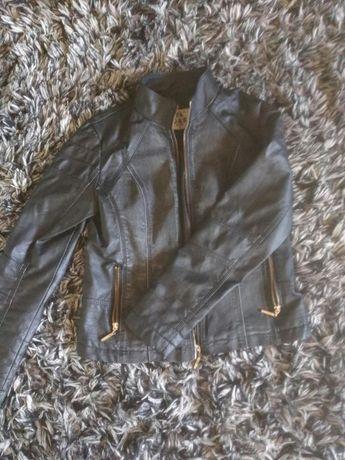 Czarna kurtka ramoneska S / M wstawki jeans