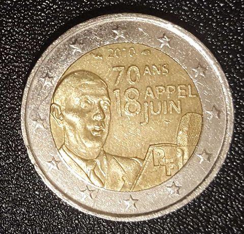 Moeda 2 Euros - França (2010) 70 Anos Apelo 18 Junho