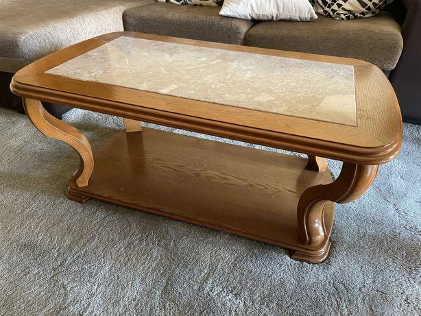 Mesa de centro em madeira c/ pedra mármore - 75 €