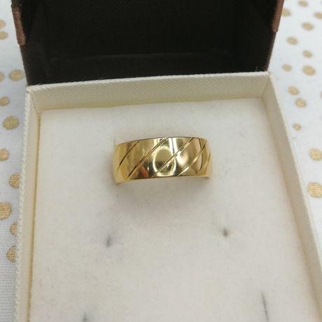 PROMOCJA Nowy złoty pierścionek obrączka 18 karatów rozmiar 15