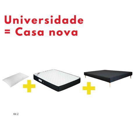 Kits- Base estofada, Colchão e almofada viscoelástica