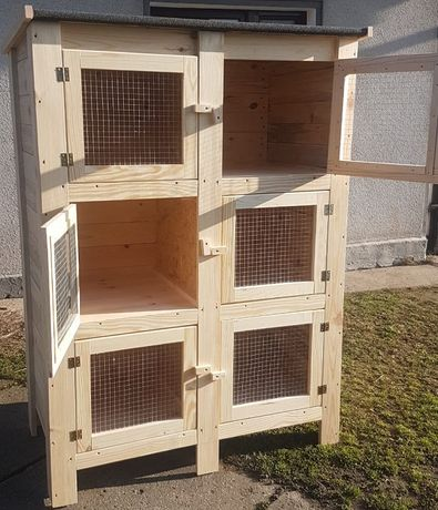 Drewniana Klatka dla królika dla królików 6 boksów